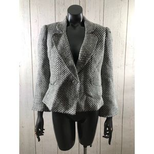 Tribal Size 4 Tweed Striped Blazer Gray White